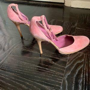 Women's Pink Suede and Cork Heels